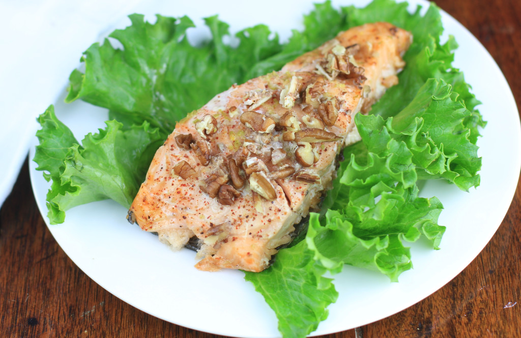 pecan-crusted honey lime salmon
