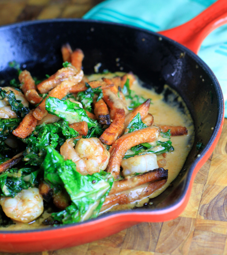 shrimp, kale, and spicy sweet potato skillet with coconut curry sauce