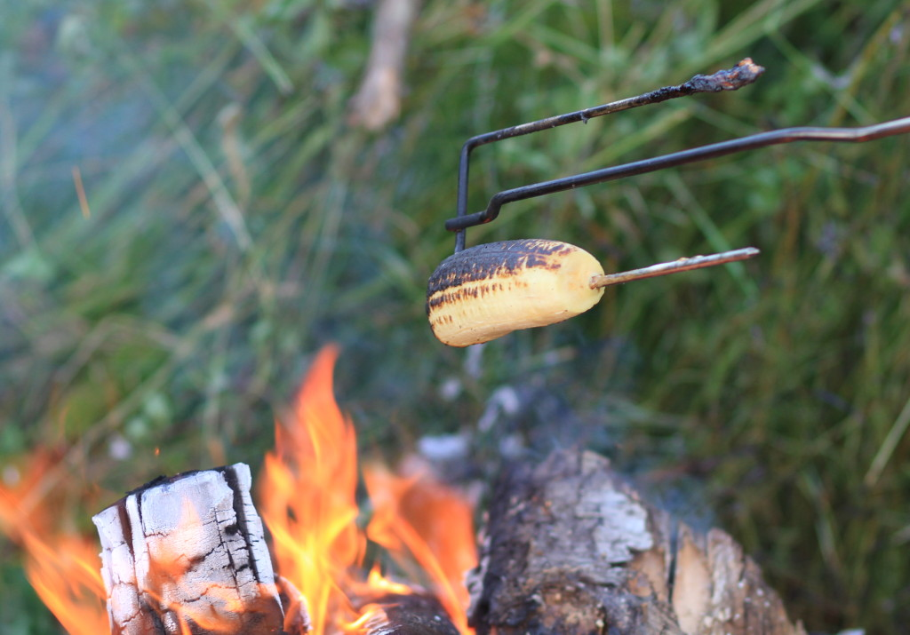 fire roasting a plantain