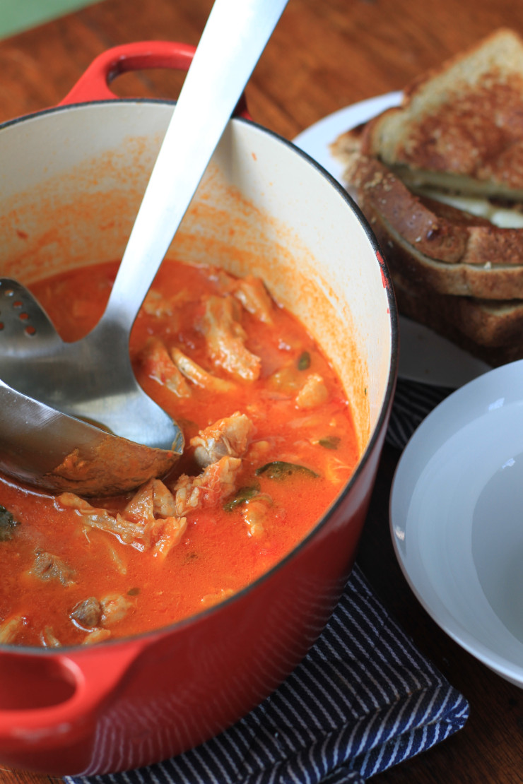 chunky chicken, tomato, and basil soup