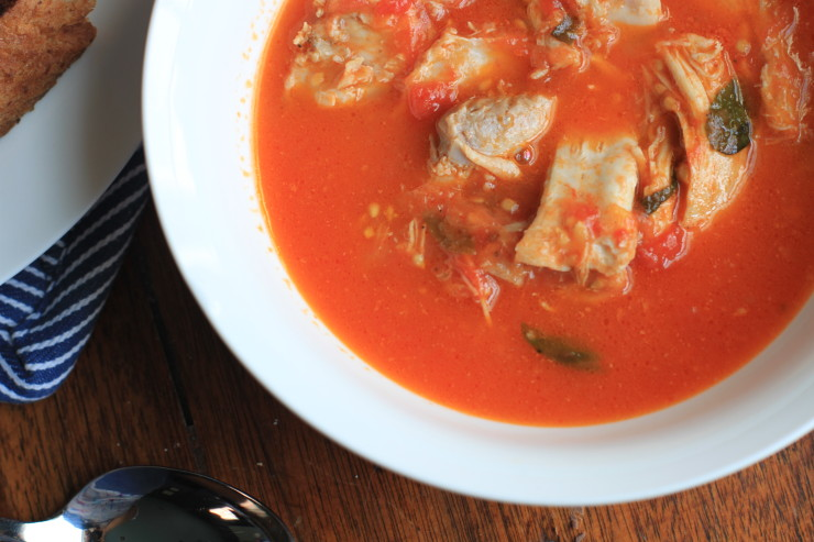 chicken, tomato, and basil soup