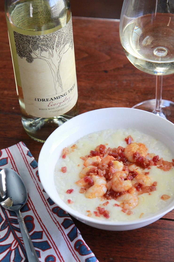 shrimp and grits with sun-dried tomatoes and bacon