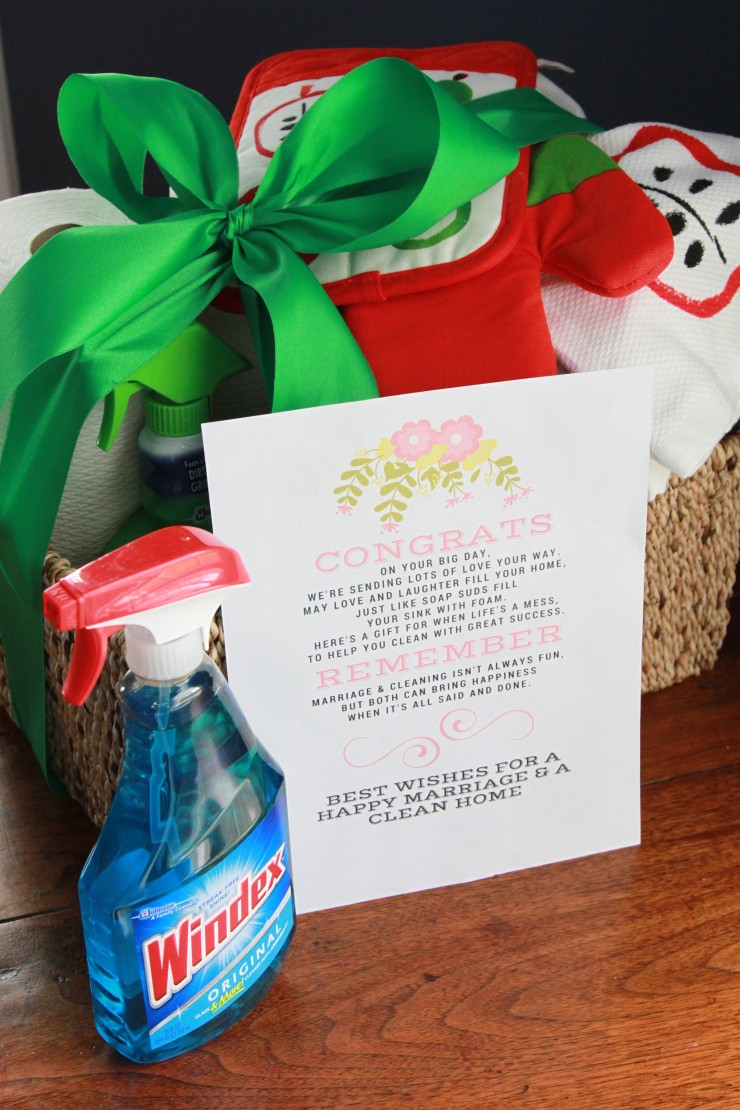 windex gift basket and free printable