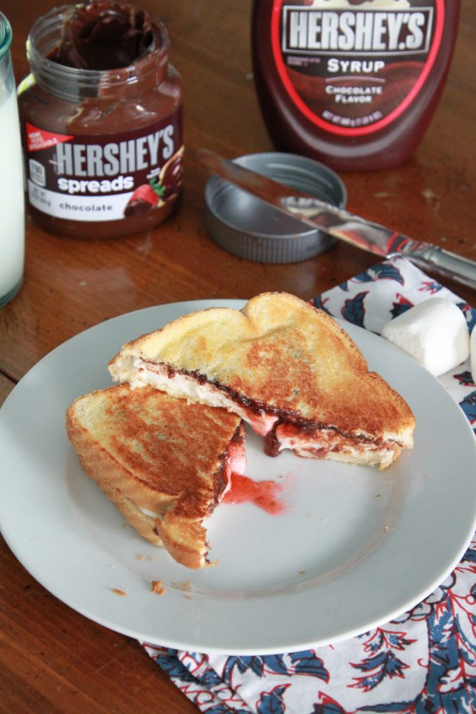 grilled smores sandwich with strawberry jam