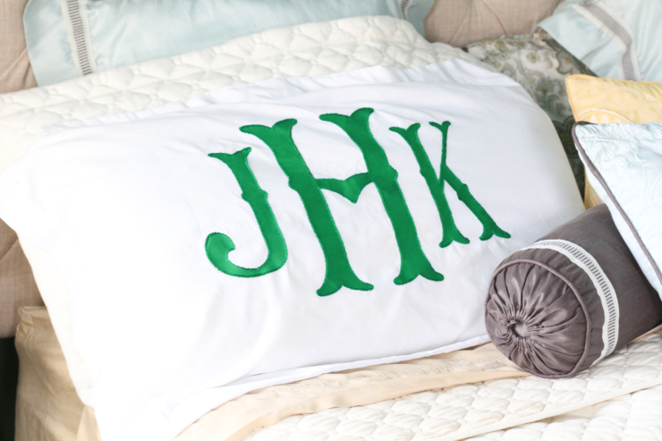 DIY Monogram pillowcase