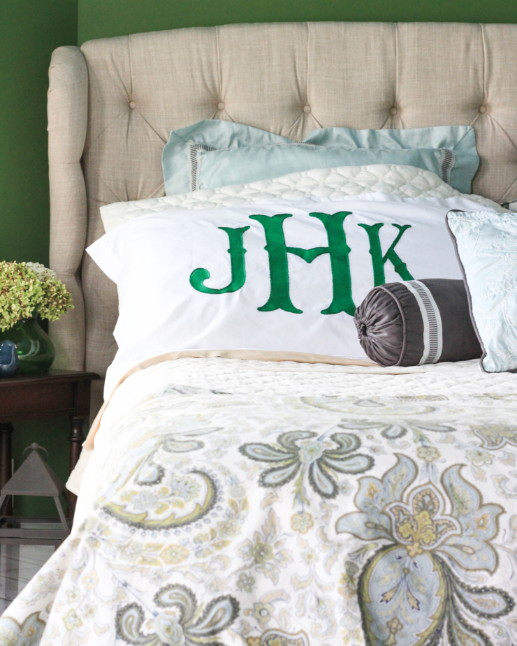 Monogram pillow sham