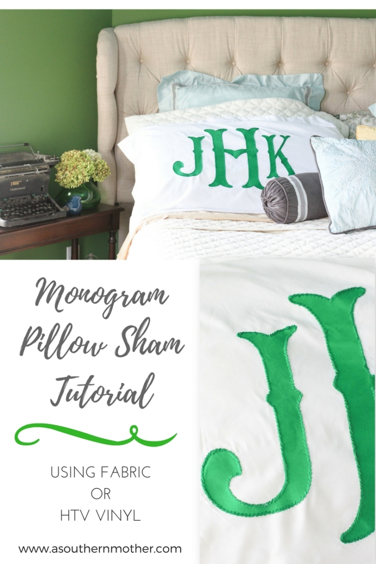 Monogram pillow sham tutorial